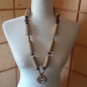 "Handmade wine cork necklace 30"""